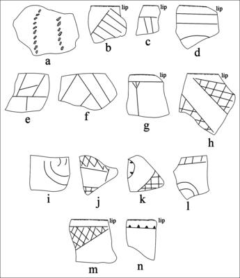 Selected Decorative Elements on Grog-Tempered Sherds from the Sanders Site