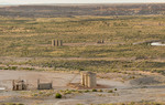 Modern oil bonanza at historic Bonanza, Utah, with Fantasy Canyon in foreground